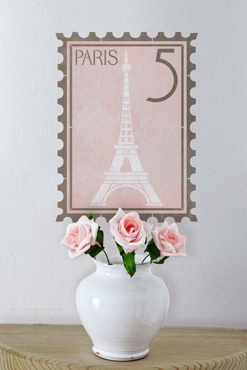 Wall Stencil | Paris Postage Stamp Wall Stencil | Royal Design Studio