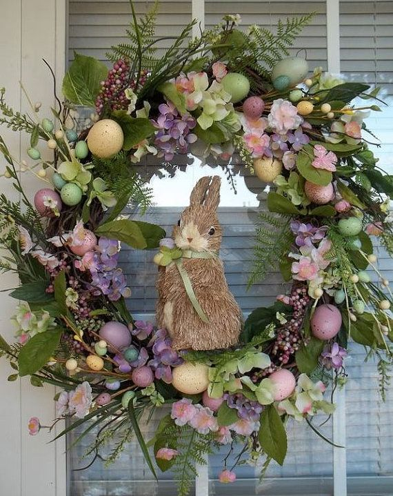 """BUNNY CROSSING"" - Vintage Chic Easter Egg Spring Wreath Decoration by DecorClassicFlorals, $149.95"