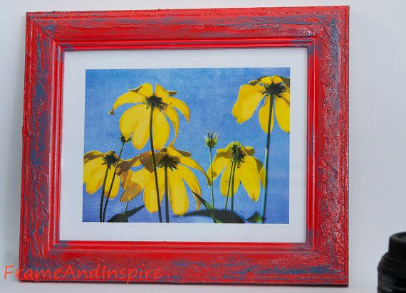 Upcycled Photo Frame. Textured. Painted Red and Blue.  32cm x 27cm frame. Fit 8 x 10 photo. Satin finish. Coneflowers. Yellow.