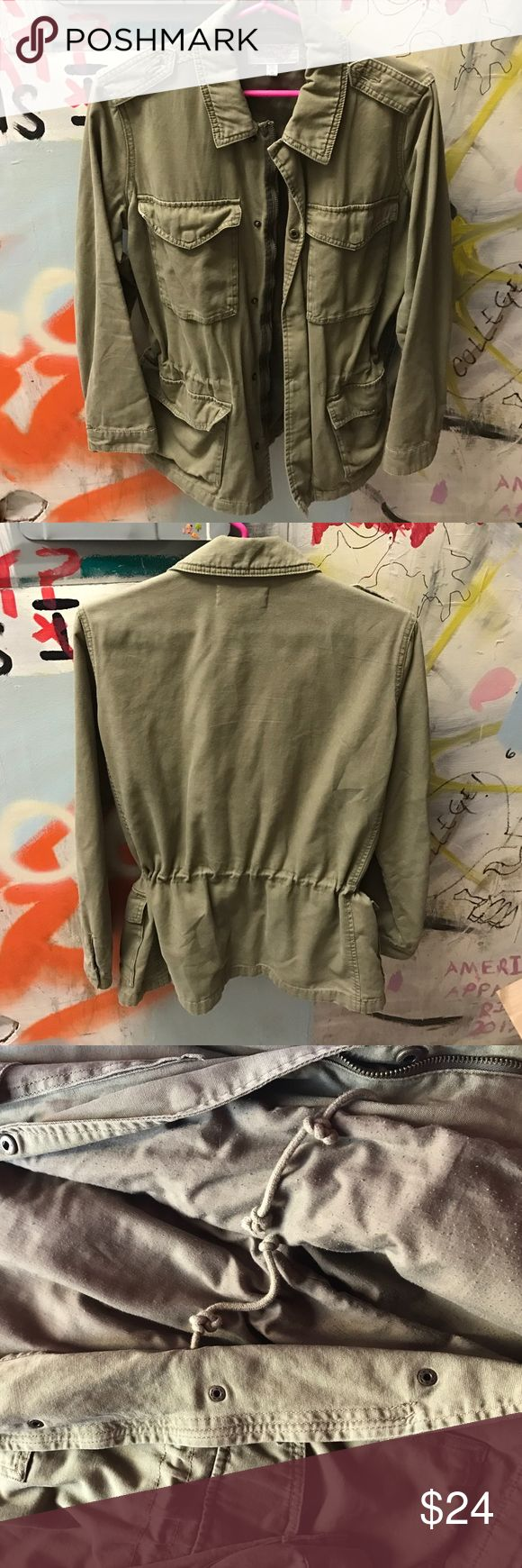 Olive Urban Outfitters drawstring jacket Ecoté jacket in good condition. Straps on shoulder held by safety pins because the buttons fell off. Adjustable drawstrings on inside. Urban Outfitters Jackets & Coats