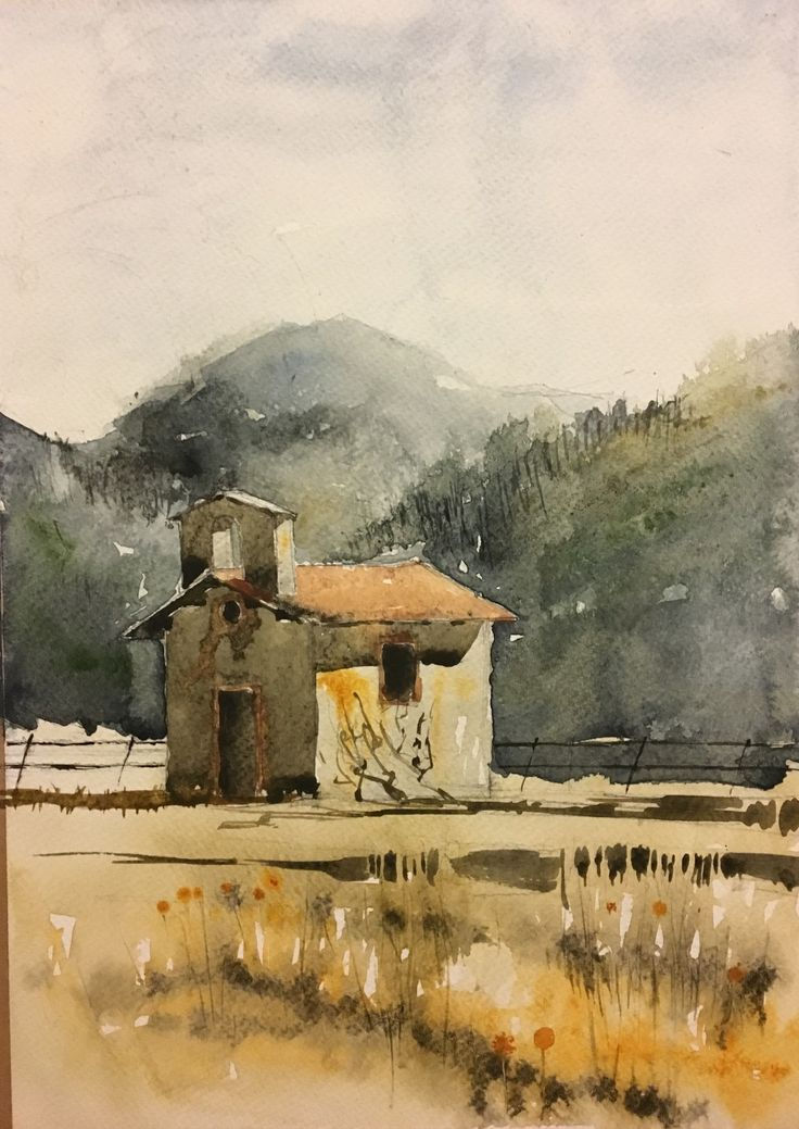 Small Rural Church. Watercolor.