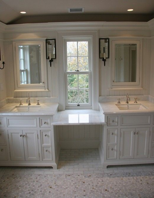 Toby Leary Fine Woodworking: Spectacular Master Bathroom With White Bathroom  Cabinets Paired With Calcutta Marble