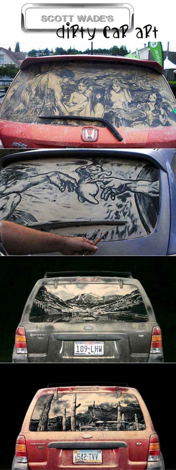 Best Dirty Car Art Images On Pinterest Car Painting Lwren - Scott wade makes wonderful art dusty car windows