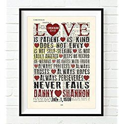 Personalized Wedding Art Vintage Bible page verse scripture Love is Patient Love is Kind 1 Corinthians 13 Christian art print, UNFRAMED, dictionary wall & home decor poster, wedding couples gift