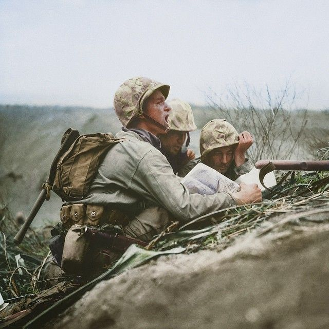 OBSERVER ON IWO JIMA, 1945 by the US Marine Corps. February 1945. #usarmy, #worldwar2 #iwojima