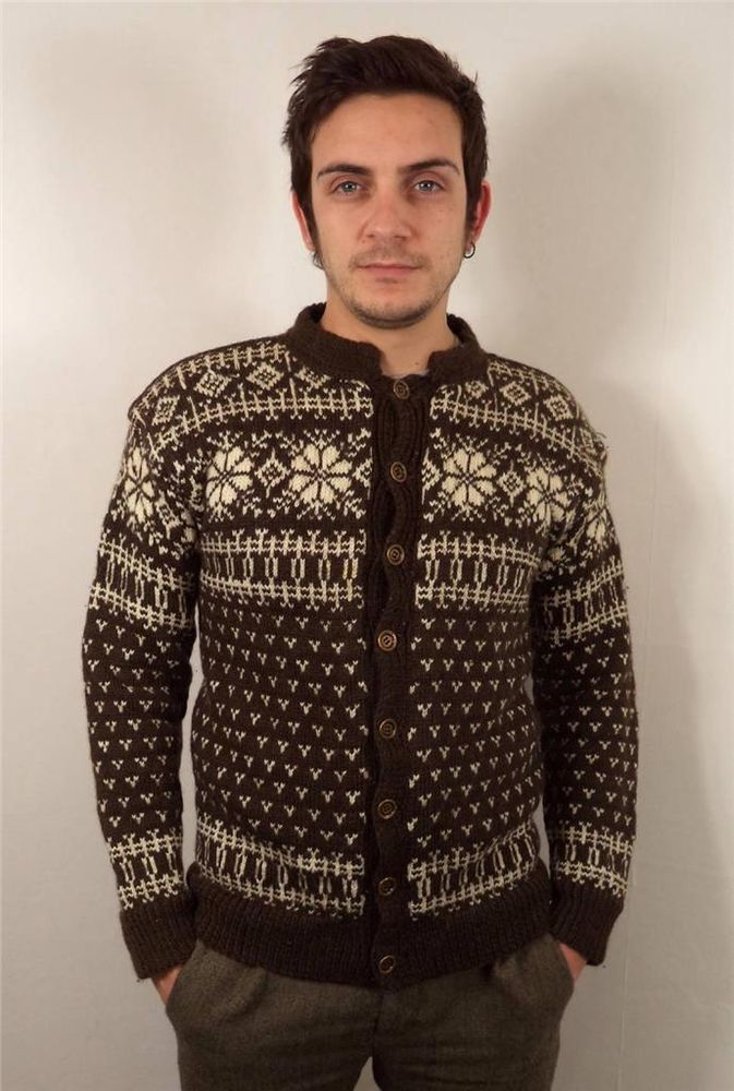 VTG MENS CHUNKY WOOL NORWEGIAN SNOWFLAKE KNITWEAR CARDIGAN SWEATER JUMPER XS #none