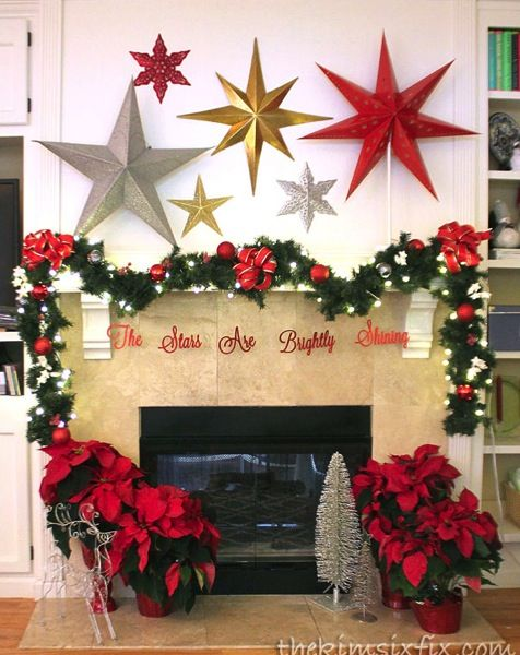 Christmas mantel with stars in gold silver and red. BEAUTIFUL!: