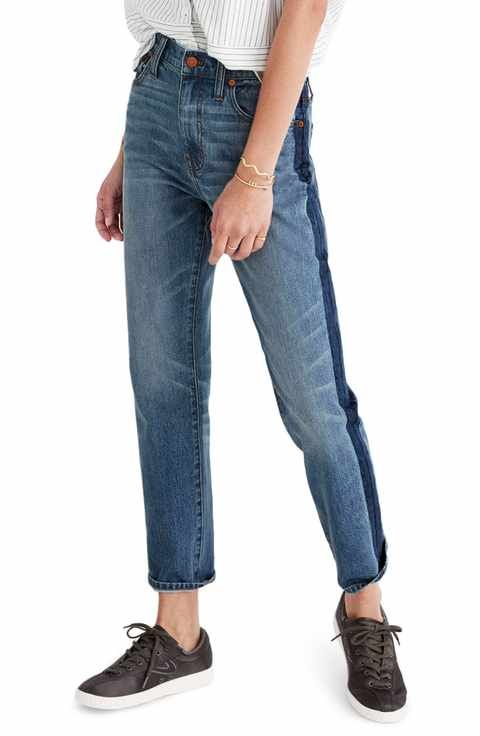 classic style new release new arrive Madewell 11-Inch High Rise Stripe Slim Boyfriend Jeans ...