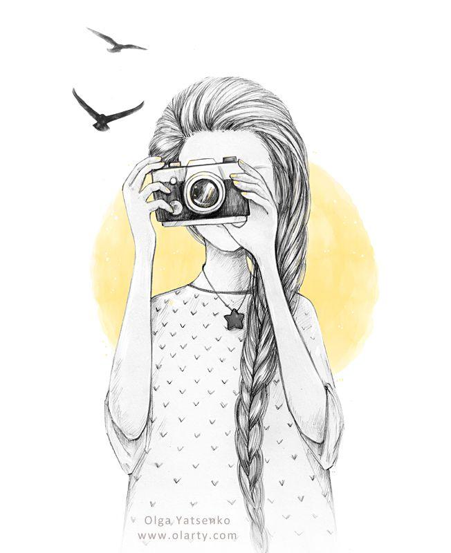 Girl with vintage camera. Drawing illustration. Artist Olga Yatsenko