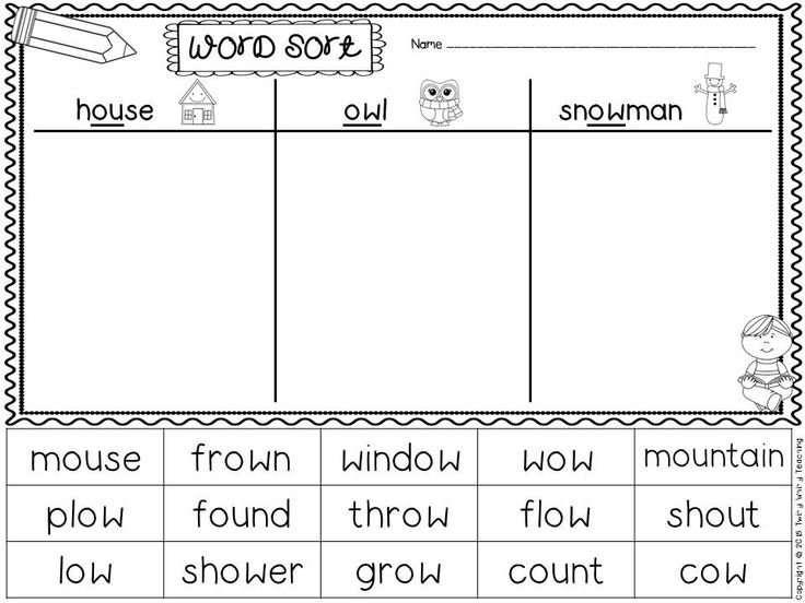 FREE word sort - diphthongs ou, ow, and long o pattern ow