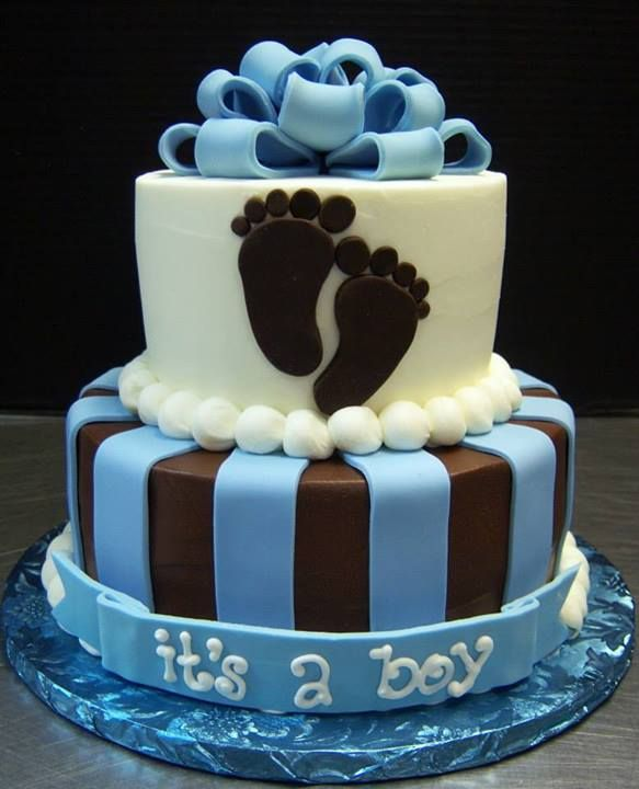 Awesome 2 Tier Baby Shower Cakes Part - 11: Two Tier Baby Shower Boy Cake By Tasty Layers Custom Cakes
