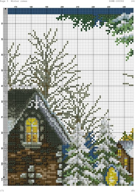 Cross-stitch Winter Comes, part 6 of 11..  color chart on parts 2 & 3
