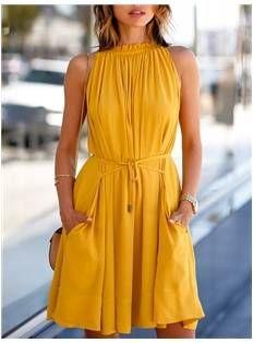 Mustard Summer Day Dress - Code Women