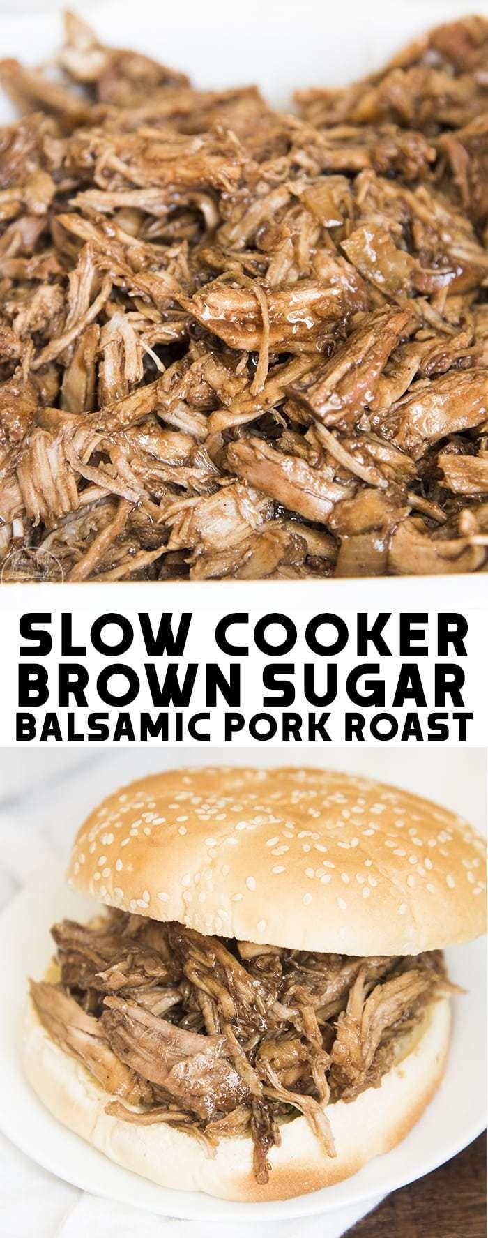 This Slow Cooker Brown Sugar Balsamic Pork Roast is a flavorful, tender pork tha…