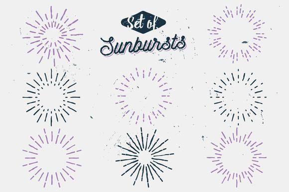 Retro sun rays (SUNBURSTS) by Roman Paslavskiy on @creativemarket
