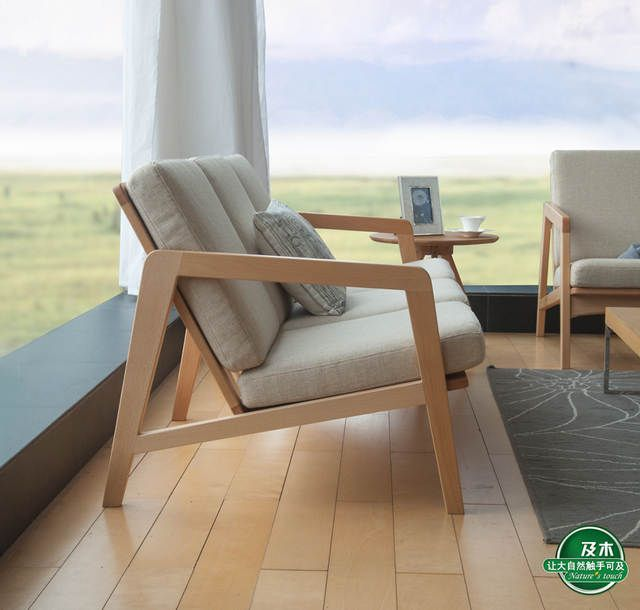 And Wood Furniture Minimalist Scandinavian Design And Creative Japanese Fabric Of European Beech Wood Sofa Sf0 En 2020 Canape Fait Maison Canape En Bois Canape De Bois