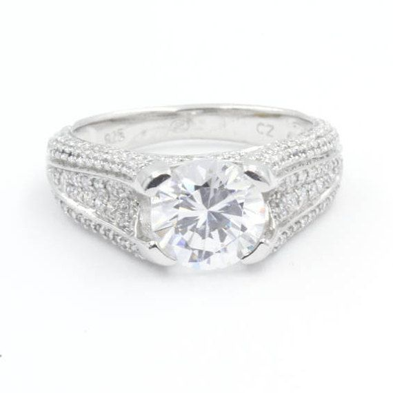 1.75 ct Round Cut CZ Engagement Ring, Size 7, 925 Sterling Silver, Pave Band (777)