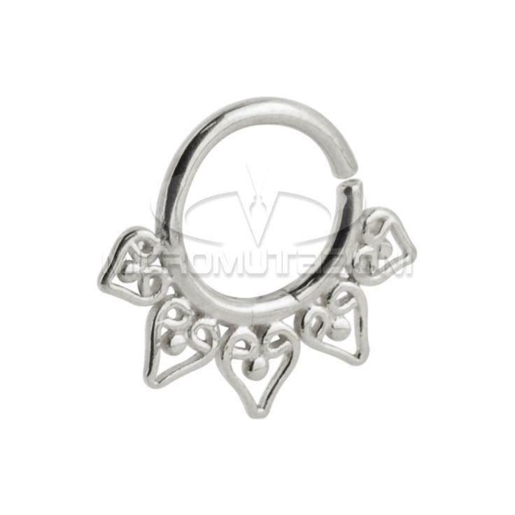 Piercing Septum Indian, Piercing al setto nasale ,Piercing anello al naso in argento 925 con ornamenti stile indiano, Artigianale di Micromutazioni su Etsy