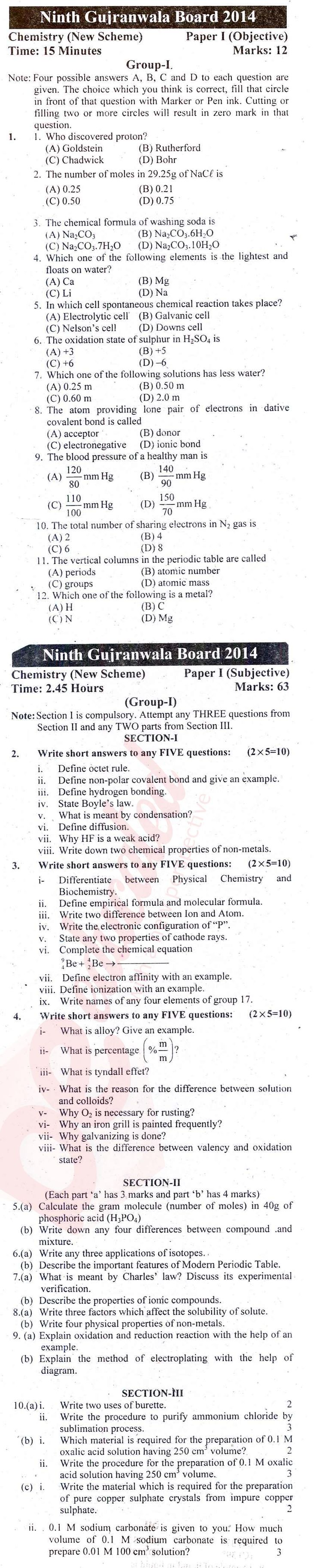 Chemistry 9th English Medium Past Paper Group 1 BISE Gujranwala 2014