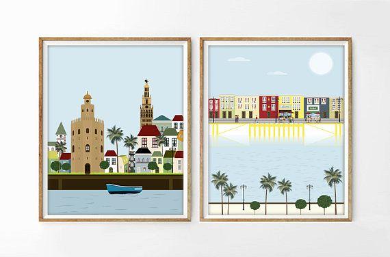 set 2 ilustraciones SEVILLA Y TRIANA laminas sevilla poster