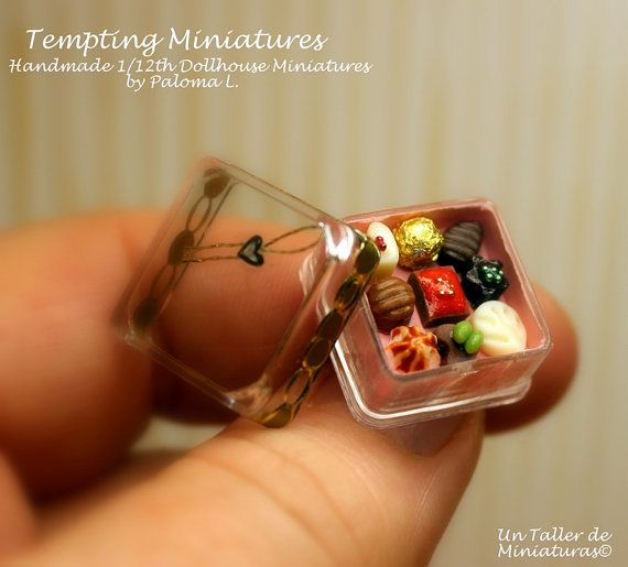 Assortment of Chocolates in Clear Small Box - 1:12th Dollhouse Miniature