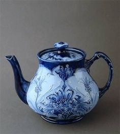 Macintyre Moorcroft Florian Ware teapot ... flow blue and white art nouveau floral design, c. 1905-1920s, ceramic, UK