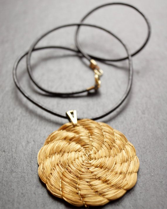 Eco friendly Necklace Golden Grass Flower by ColorsofBrazil, $25.00