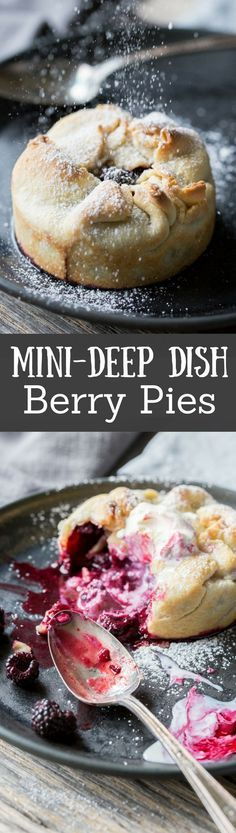 Mini Deep Dish Berry Pies made with Black Raspberries (any ripe berry in season will do) then dusted with powdered sugar, and topped with vanilla ice cream. www.savingdessert.com