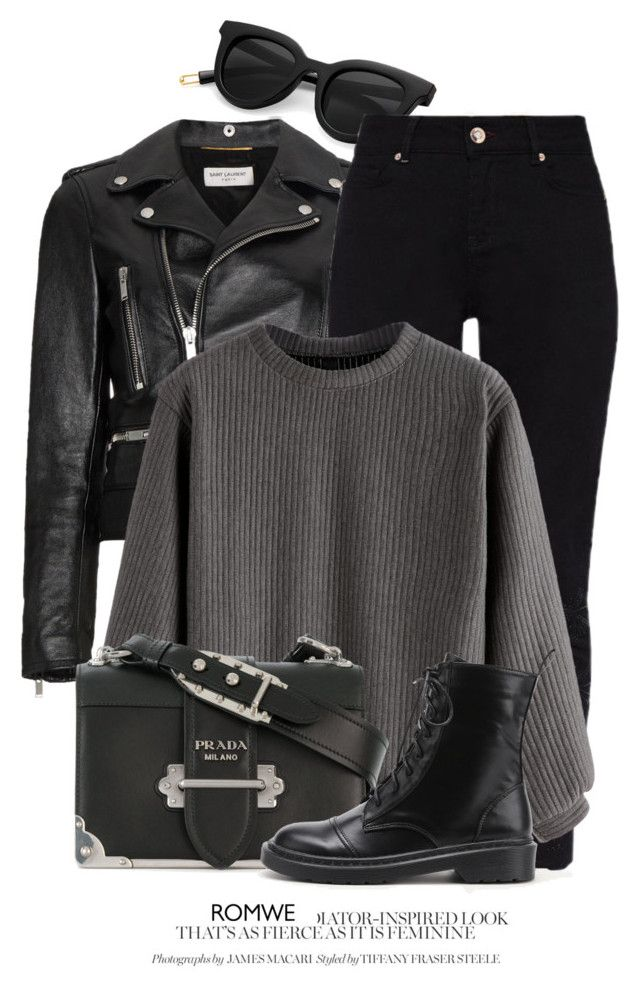 """""""10:15"""" by monmondefou ❤ liked on Polyvore featuring Yves Saint Laurent, Ted Baker and Prada"""