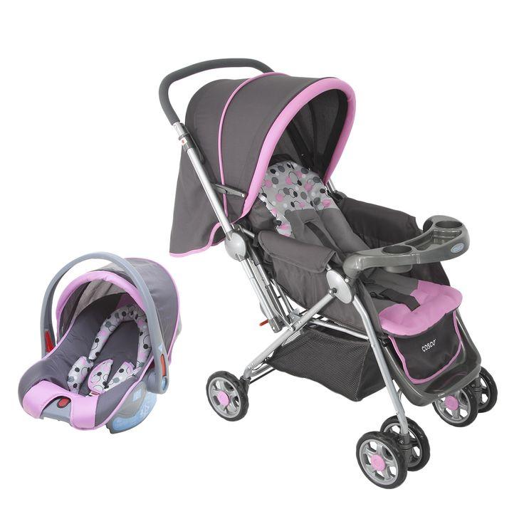 Carrinho de Bebê Passeio Travel System Reverse Cosco 6 Rodas 2 Posições Suporta até 15Kg Rosa e Cinza   Carrefour