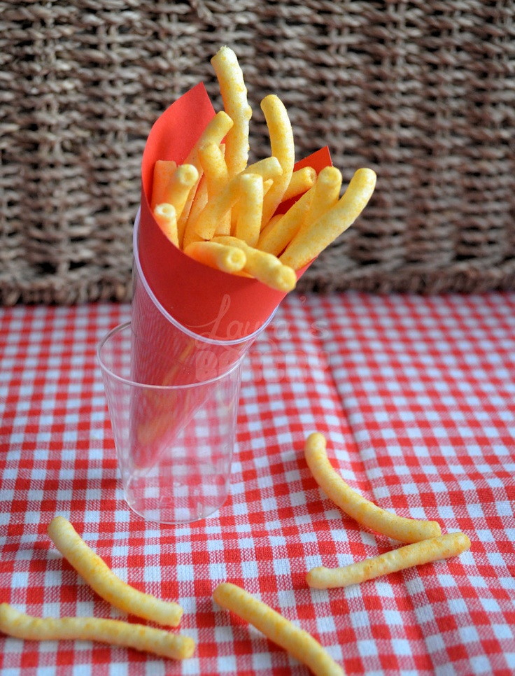 Looks like fries (but is chips) fun for a kids party!