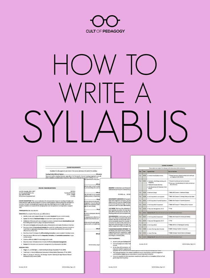 How to Write a Syllabus | Cult of Pedagogy