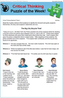 science critical thinking puzzles Sharpen your child's critical thinking and logical reasoning skills with our collection of fun, free and printable critical thinking worksheets.