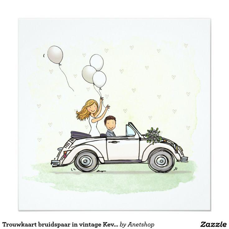 Trouwkaart bruidspaar in vintage Kever cabrio