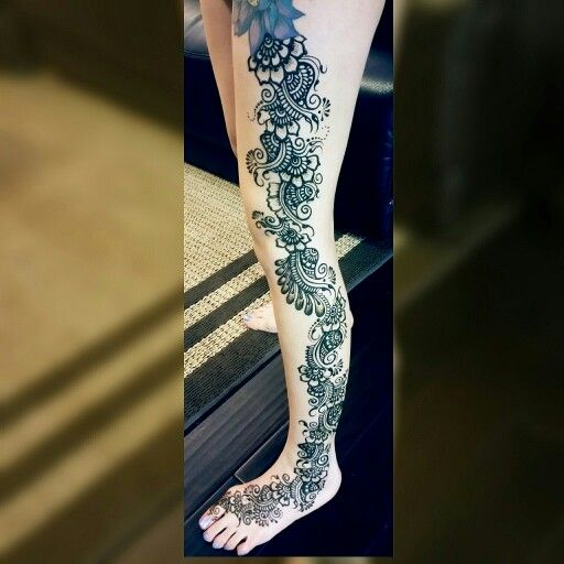 Full Leg Mehndi : Full leg henna kg and body art pinterest