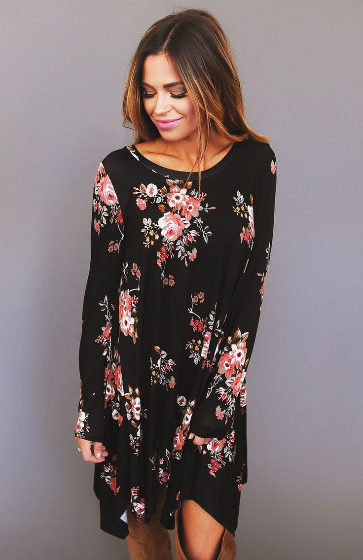 Black/Red Floral Print Tunic - Dottie Couture Boutique