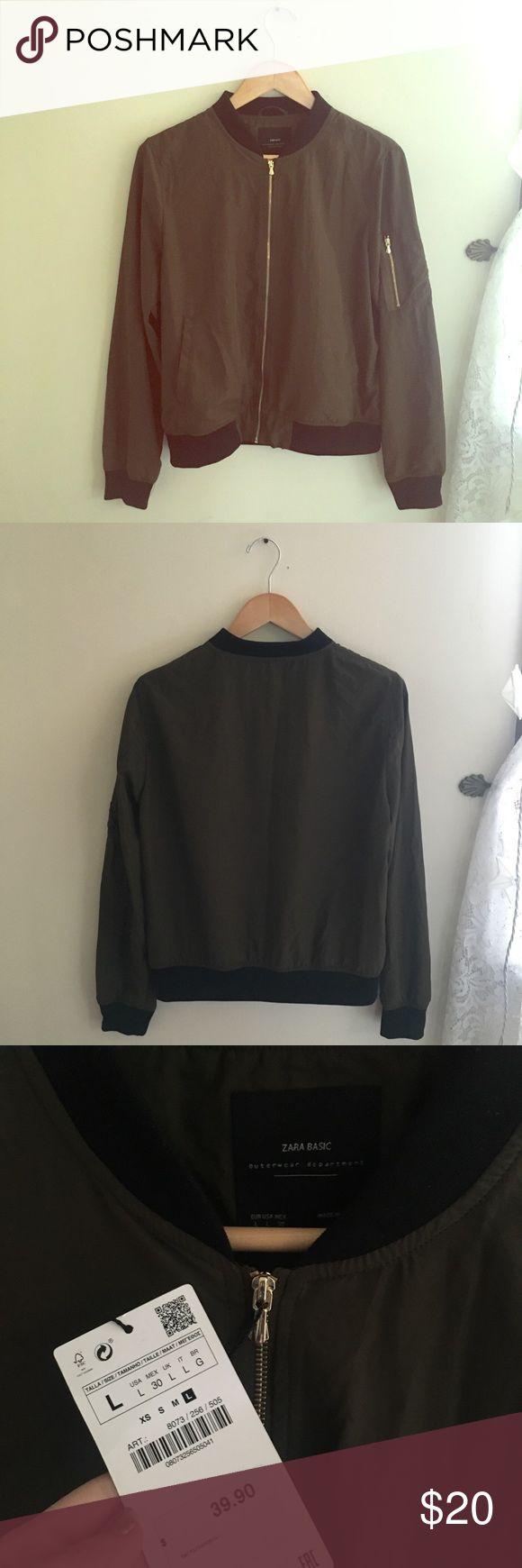 *NEW* Zara Bomber Jacket! Army green bomber jacket perfect for any outfit! Zara Jackets & Coats