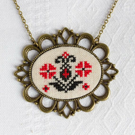 Cross stitch necklace with Ukrainian embroidery by Skrynka n070
