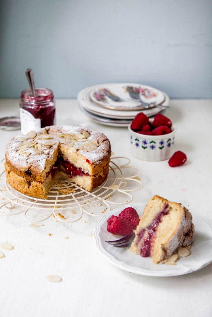 Vegan Raspberry Bakewell Cake - Wallflower Kitchen