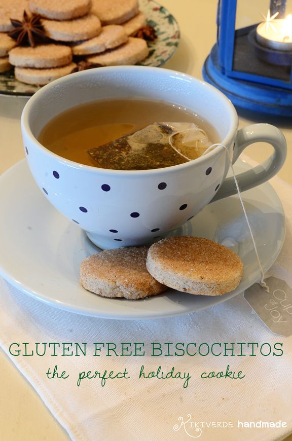 Gluten Free Biscochitos recipe for the traditional New Mexican shortbread-like cookie but made with gluten free flour. Not too sweet & perfect for dunking! From Kikiverde Handmade.