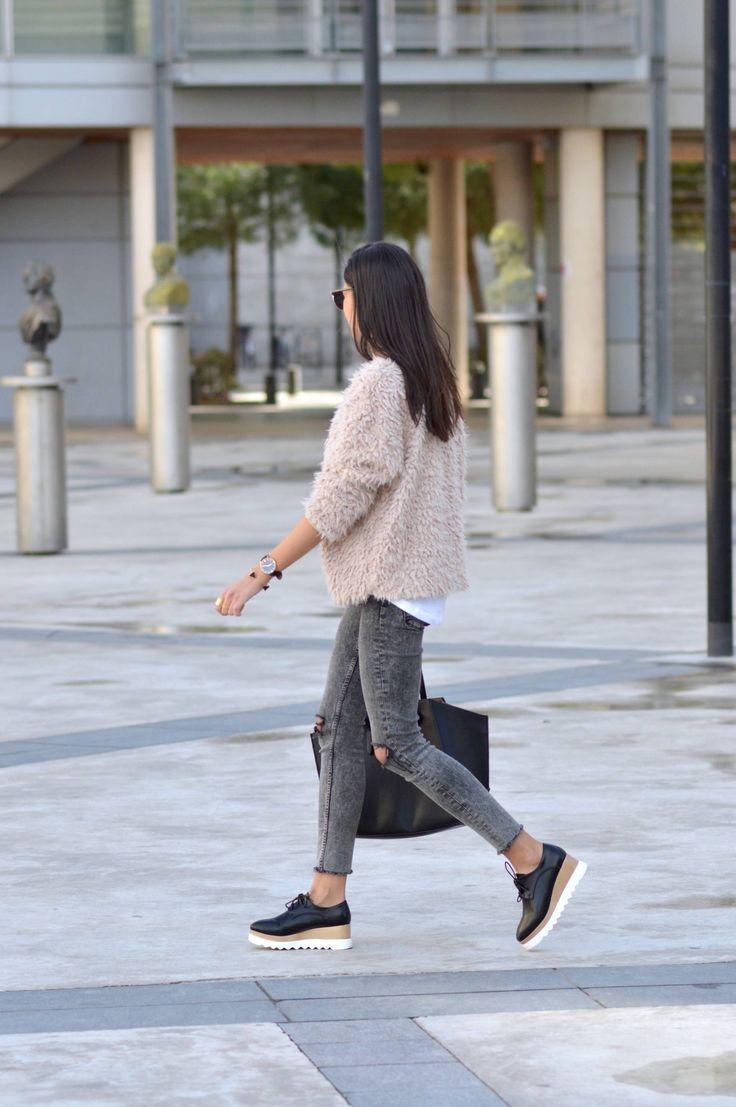 idée de look fourrure rose chaussures elyse stella mc cartney pas cher tendance mode 2016