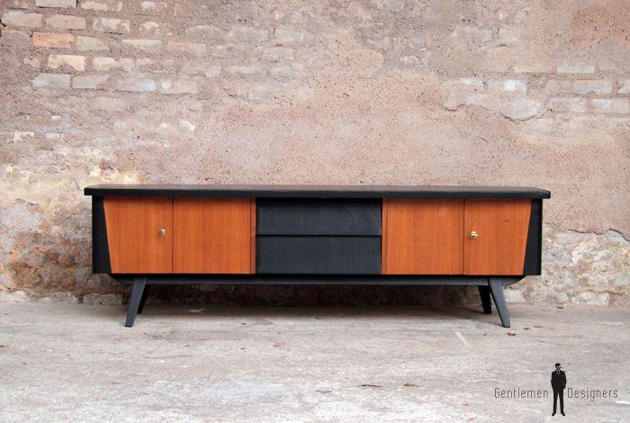 enfilade vintage en teck scandinave 4 portes 2 tiroirs. Black Bedroom Furniture Sets. Home Design Ideas