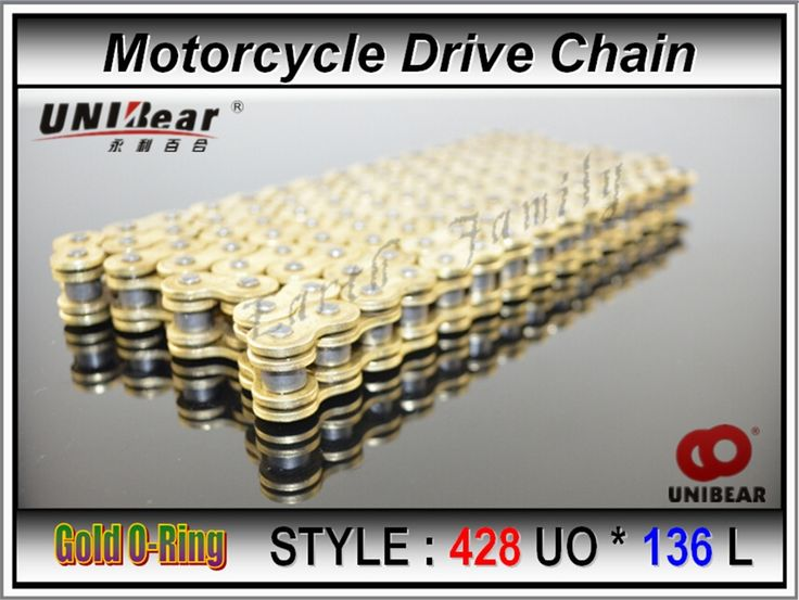 76.00$  Buy here - http://ali8ws.worldwells.pw/go.php?t=32231988569 - 428 * 136 Motorcycle Drive Chain ATV parts UNIbear 428 Gold O-Ring Chain 136 Links for Suzuki DRZ125 motocross dirt bike