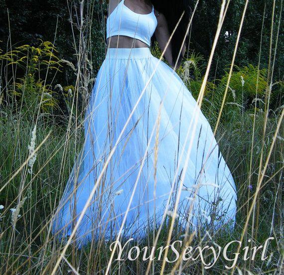 Adult Full Length White Long Tutu Skirt, Maxi tutu skirt, long skirt Elastic…
