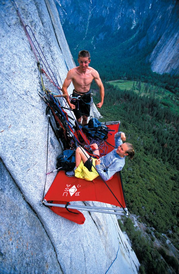 Caldwell and Rodden camping on a porta-ledge on El Cap ...