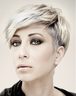 A Short Blonde straight coloured multi-tonal side-parting womens haircut hairstyle by Mob Salons