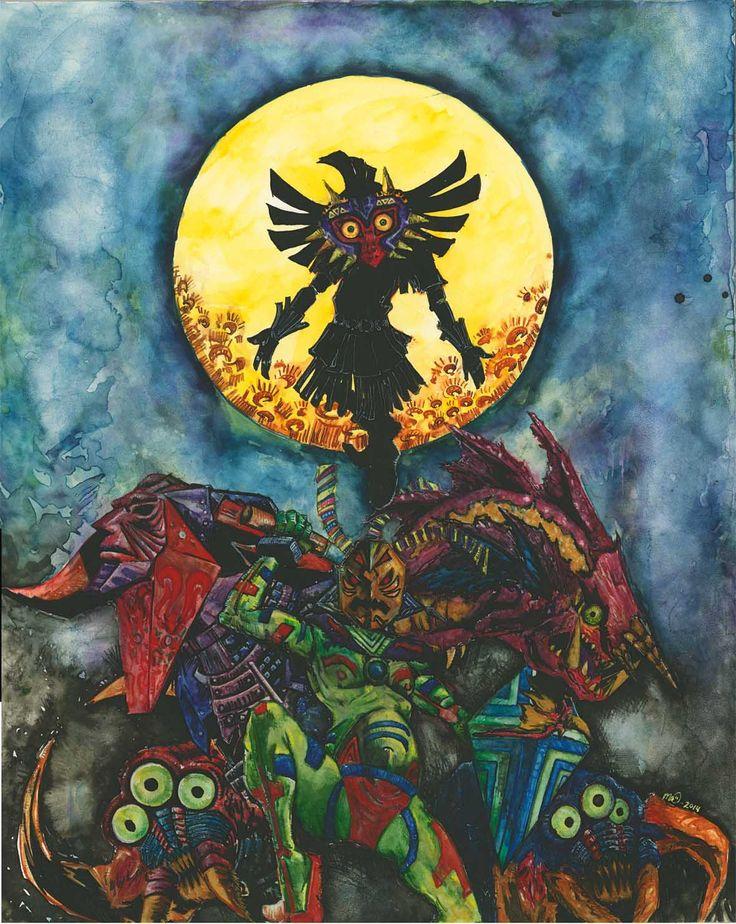 Majora S Mask Acrylic Painting