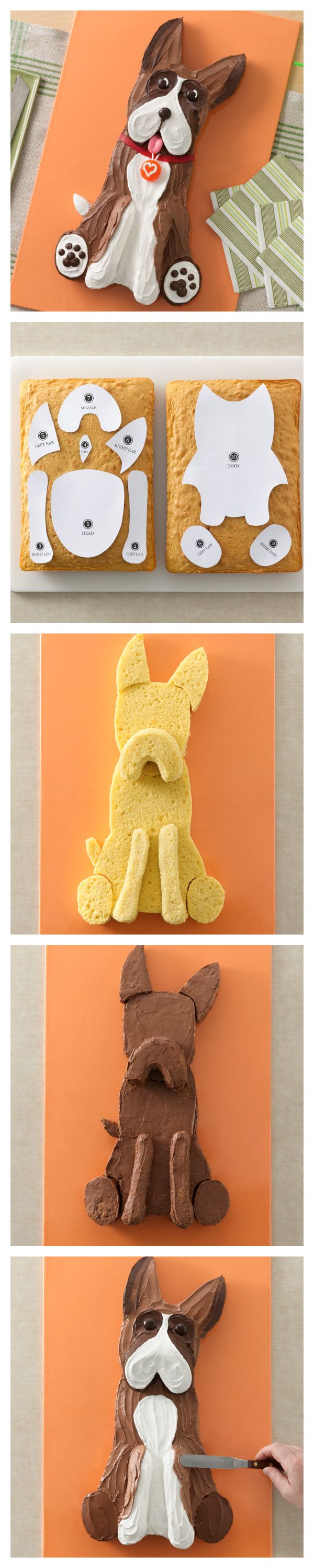 Wag some tails with this Boxer Dog Cake and template!