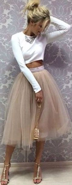 Tulle midi skirt and crop top. So cute