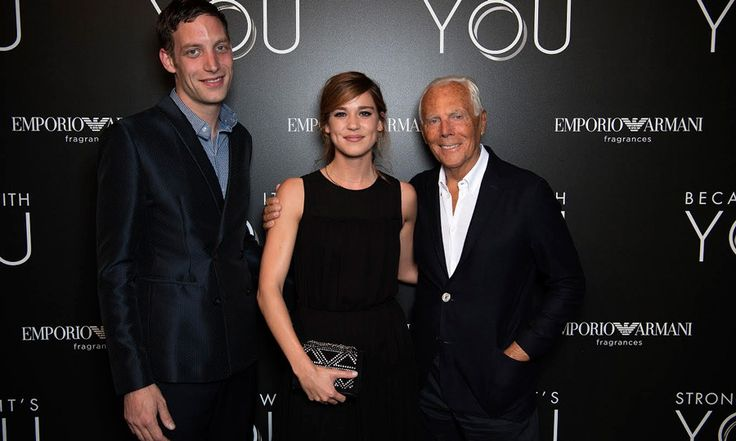 James Jagger and Matilda Lutz celebrated the new Emporio Armani fragrance with Giorgio Armani at the Armani/Teatro in Milan.